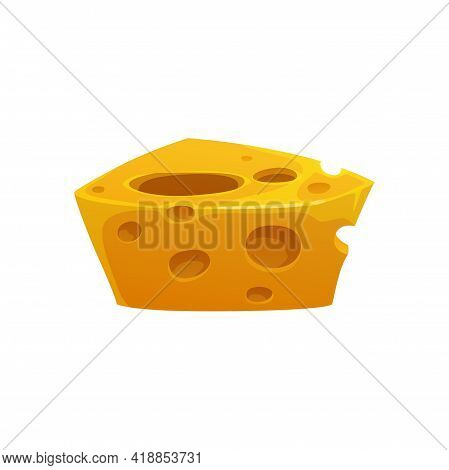 Block Of Swiss Cheese Isolated Cartoon Icon. Vector Healthy Organic Eating, Emmental Cheese With Hol
