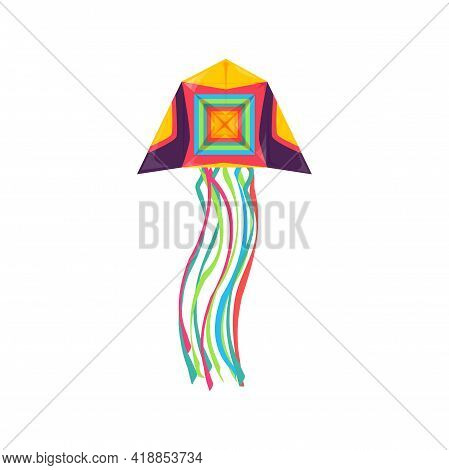 Paper Kite In Shape Of Jellyfish Flying In Sky Isolated Kids Toy. Vector Kite-balloon Flown In Wind,