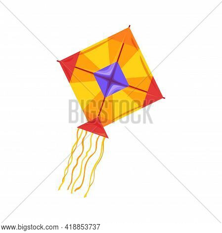 Kite Flying Of Square Shape In Sky Isolated Outdoor Activities Object. Vector Kiteboarding Kitesurfi