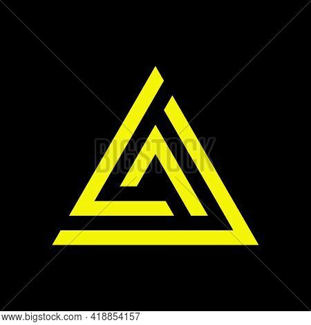 Yellow Triangle, Prism, Pyramid Warning Logo Symbol. Voltage. Electric