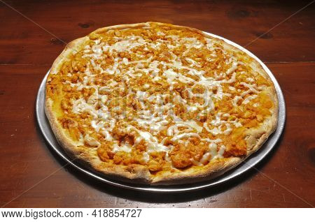Delicious Tomato Sauce Cheese Covered Hot And Tasty Buffalo Chicken Pizza Pie