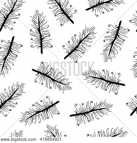 Seamless Vector Pattern With Bird Feathers. Beautiful Vintage Feathers On A White Background. Black