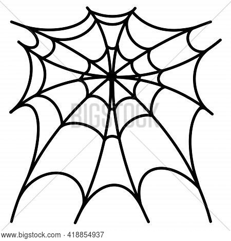 Vector Spider Web Icon. The Isolated Image On A White Background. Thin Spider Web, Black Doodle Free