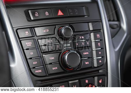 Novosibirsk, Russia - April 25 2021: Opel Astra, Auto Interior, Car Stereo Audio System Front Panel