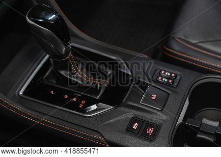 Novosibirsk, Russia - April 25 2021: Subaru Impreza Xv, Car Detailing. Automatic Transmission Lever