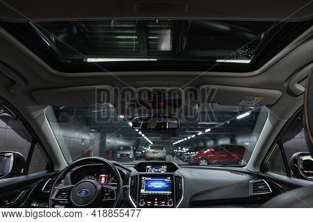 Novosibirsk, Russia - April 25 2021: Subaru Impreza Xv, Car Interior. Rear View Of The Windshield, H