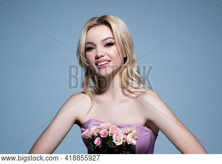 Beauty Woman Face Portrait. Beauty Face Of The Young Beautiful Woman, Isolated On Gray. Gorgeous Fem