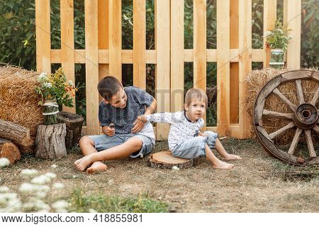 Two Little Preschool Children Hitting Each Other. Boys Fighting. Kids Cannot Share Toys. Older Sibli