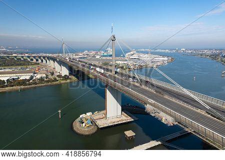 Aerial Photo Of West Gate Bridge In Melbourne