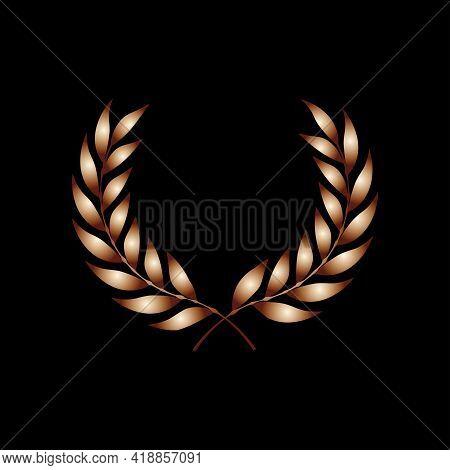 Vector Gold Award Laurel Wreath. Winner Label, Leaf Symbol Victory, Triumph And Success Illustration