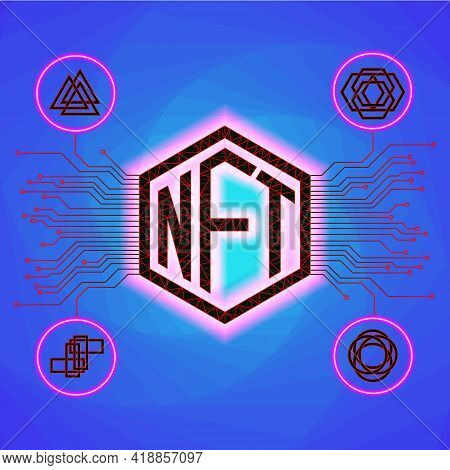 Vector Illustration. Nft Non Fungible Tokens Infographics With Pcb Tracks And Unique Tokens On White