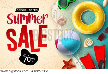 Sumer Sale Vector Banner Design. Summer Sale 3d Text Up To 70% Off Discount With Beach Ball, Floater