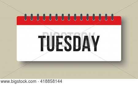 Vector Icon Page Calendar, Day Of Week Tuesday