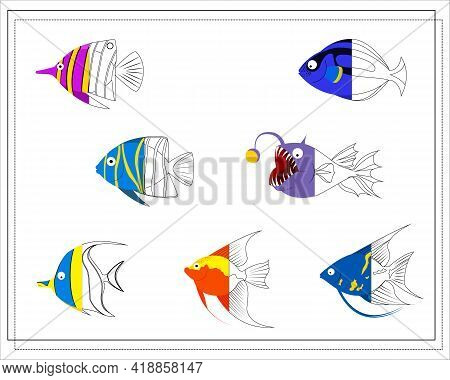 The Page Of The Coloring Book, Color The Other Half Of The Fish. Color Version And Sketch. Coloring
