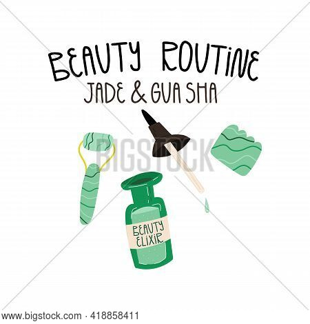 Beauty Routine, Skincare, Anti-aging Routine Concept. Gua Sha Or Jade Scraper And Roller, Face Beaut
