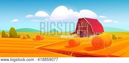 Barn On Farm Nature Rural Background With Hay Stacks On Field And Eco Wind Mills Under Cloudy Sky. C