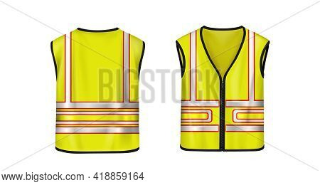 Safety Vest Front And Back View, Yellow Sleeveless Jacket With Reflective Stripes For Road Works, Wa