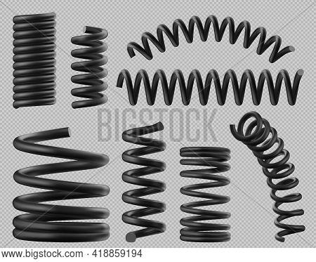 Black Spring Coils, Flexible Spiral Metal Wire. Vector Realistic Set Of Plastic Or Steel Elastic Spr