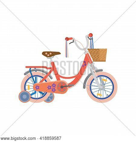 Childrens Two-wheels With Extra Wheels, Cartoon Vector Illustration Isolated.
