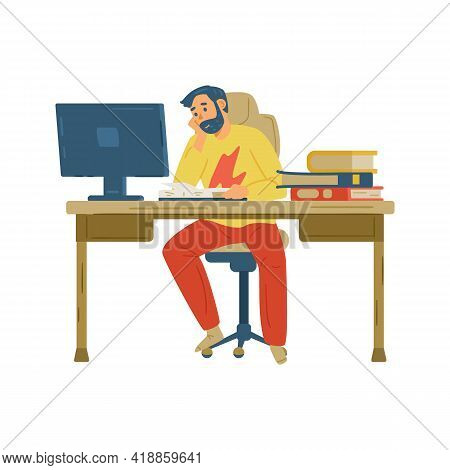Man Student Learning In Front Of Computer, Flat Vector Illustration Isolated.