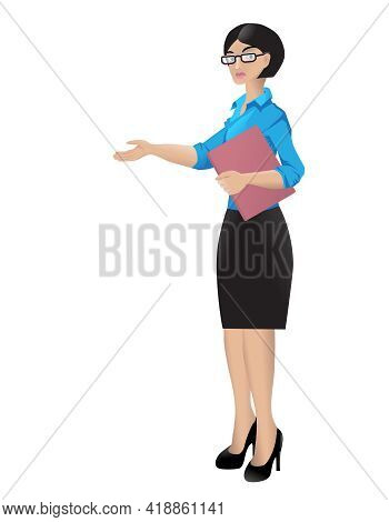 Woman Secretary Meets A Visitor. Female Office Worker Holds A Clipboard, Points With Hand.  Business