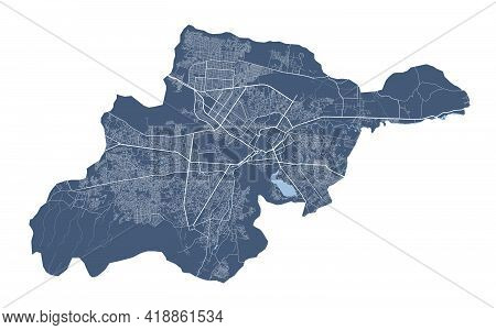 Kabul Map. Detailed Vector Map Of Kabul City Administrative Area. Cityscape Poster Metropolitan Aria