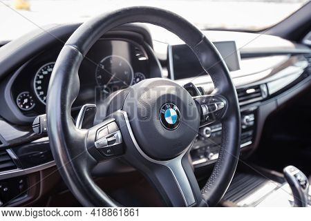 Varna, Bulgaria - May 20, 2020: The Interior Of Bmw X5 M50d. Bmw Is A German Automobile, Motorcycle