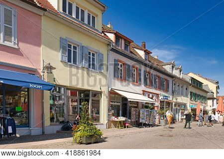 Bad Dürkheim, Germany - April 2021: Old Buildings With Small Shops At Town Square Called