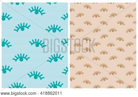 Boho Style Girly Seamless Vector Patterns Set. Blue And Brown Abstract Eyes On A Pastel Blue And Lig
