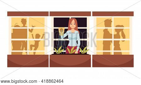 Lonely Single Woman Standing Upset, Flat Vector Illustration Isolated.