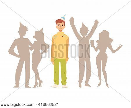 Lonely Man Stands Alone In Crowd Of People, Flat Vector Illustration Isolated.