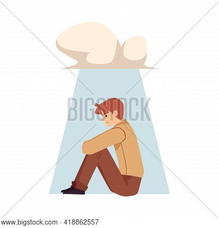 Lonely Upset Man Character Under Rain Cloud, Flat Vector Illustration Isolated.
