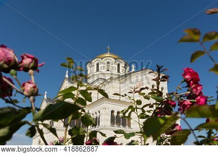 Sevastopol Crimea Chersonesos 09 June 2019. Vladimir Cathedral Surrounded By Roses View From Below.