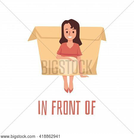 Girl Kid Using Box For Demonstrating Of Position Preposition Place In Front Of