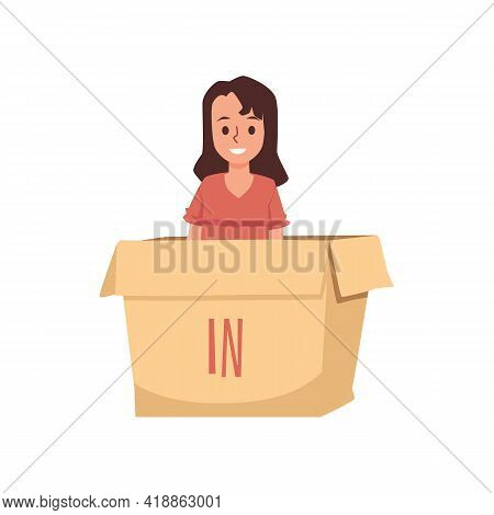 Child Sits In Box With Written In Preposition, Flat Vector Illustration Isolated.