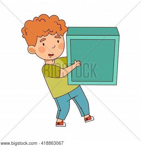 Little Redhead Boy Carrying Big Toy Block Having Fun Vector Illustration