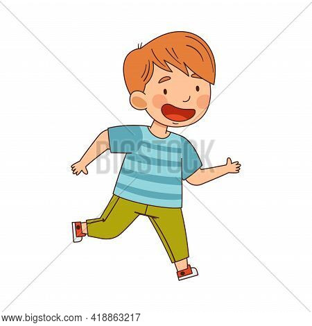 Smiling Boy Running Engaged In Energetic Playing Activity Vector Illustration