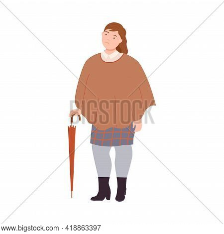 Young Woman Character Having Corpulent Body Wearing Poncho Standing Leaning On Furled Umbrella Full