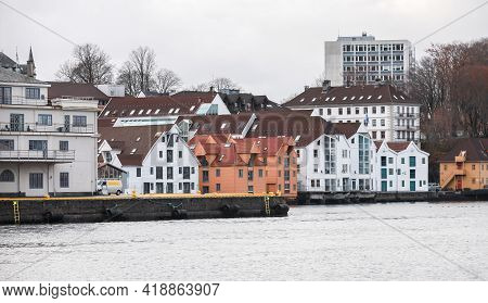 Bergen, Norway. Coastal View With Wooden Living Houses