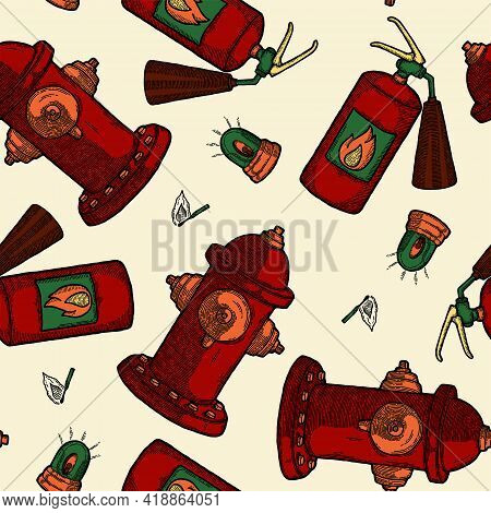 Retro Fire Extinguisher And Hydrant Seamless Pattern Background. Vector Illustration. Decor Textile