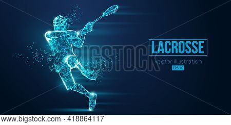 Abstract Silhouette Of A Wireframe Lacrosse Player From Particles On The Blue Background. Convenient