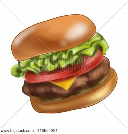Delicious, Mouth-watering Hot Burger. Bright Illustration Of Fast Food.
