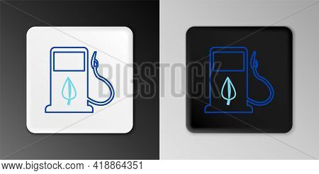 Line Bio Fuel Concept With Fueling Nozzle And Leaf Icon Isolated On Grey Background. Gas Station Wit