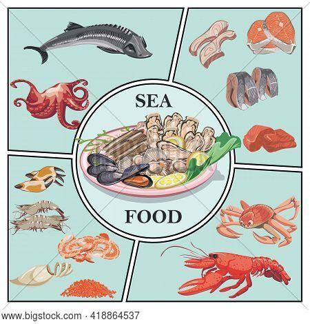 Flat Sea Food Concept With Sturgeon Crab Lobster Prawns Shrimps Caviar Herring Zander Trout Meat Mus