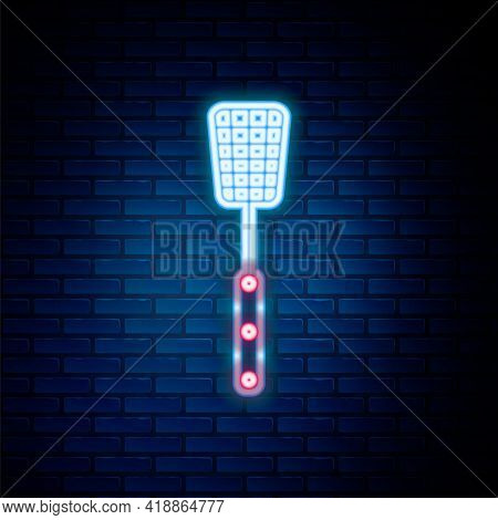 Glowing Neon Line Barbecue Spatula Icon Isolated On Brick Wall Background. Kitchen Spatula Icon. Bbq