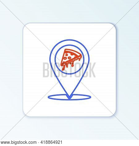 Line Map Pointer With Fast Food Slice Pizza Icon Isolated On White Background. Pizzeria Location Ico