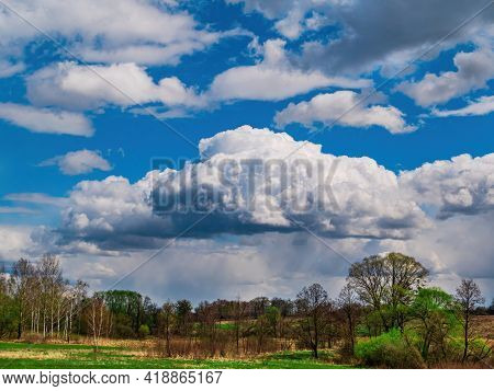 Forest Horizon Against A Blue Sky With White Clouds. Cloudy Horizon. Blue Sky. Forests And Meadows.