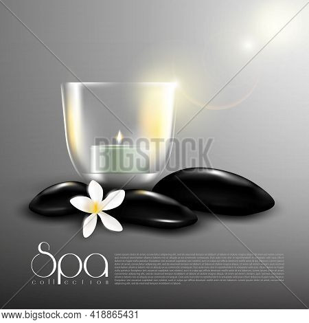 Beauty Spa Realistic Template With Glowing Candle In Glass Black Stones And Chamomile Flower Vector