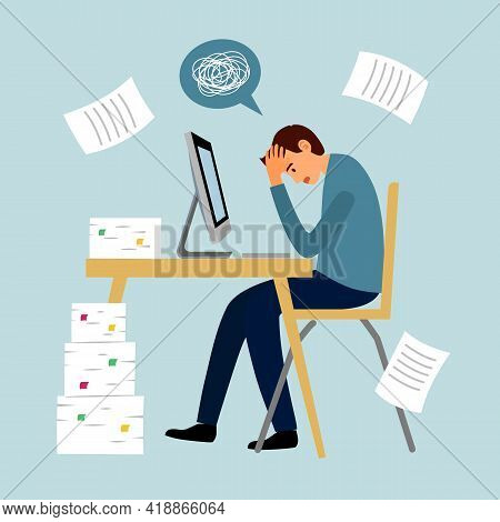 Man Feel Stress In Office. Headache While Working With Computer And Documents. Work Load Deadline. S