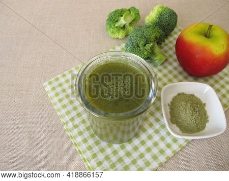 Green Smoothie With Broccoli And Fresh Apple